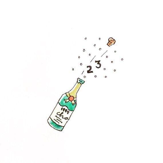 Popping Champagne Cause It S My B Day 23years Birthday Popping Champagne Illustration Drawing Water Birthday Illustration Birthday Icon Drawings