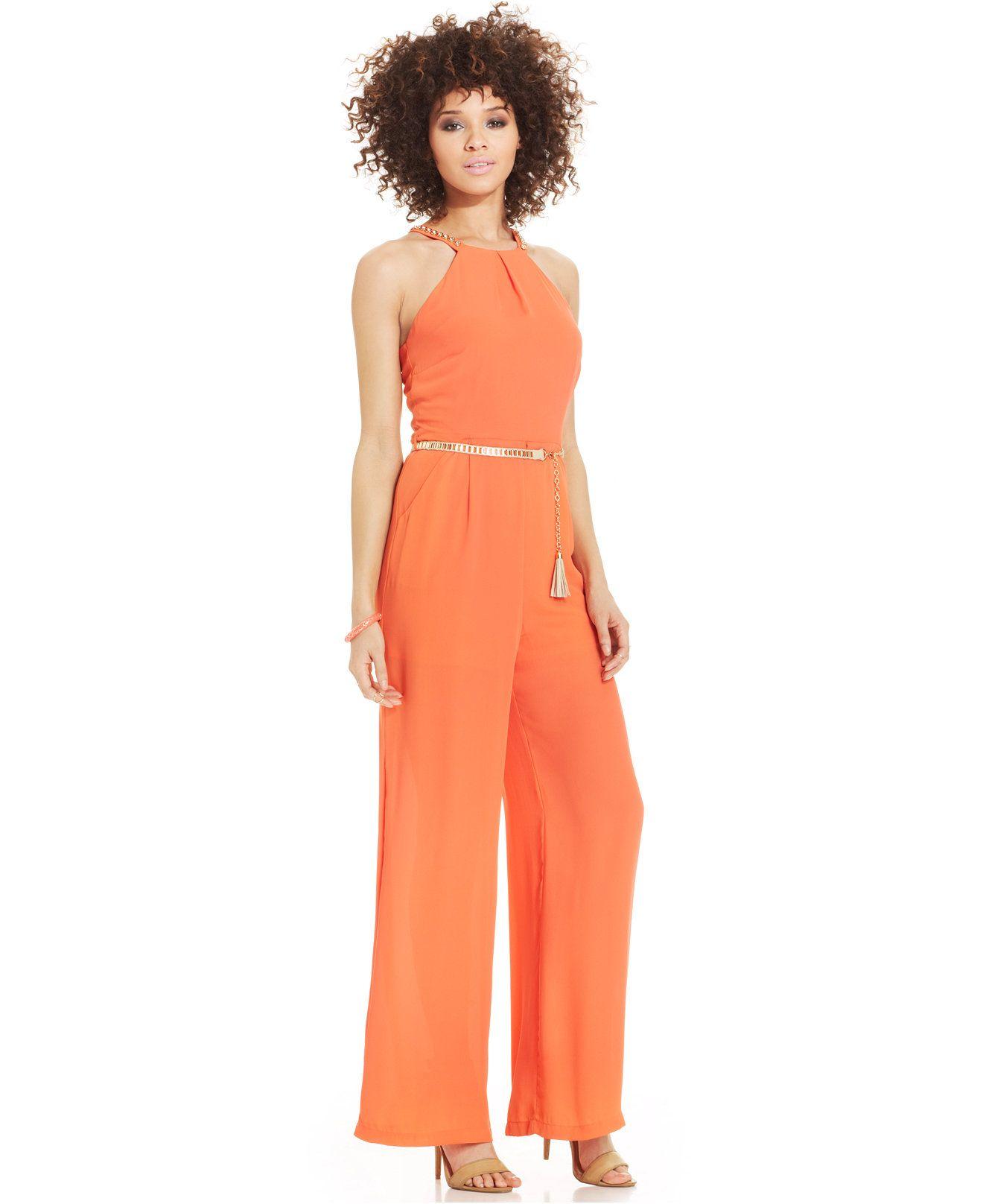 ad96cd2a8da57 XOXO Wide-Leg Belted Jumpsuit - Juniors XOXO - Macy's #fashion ...