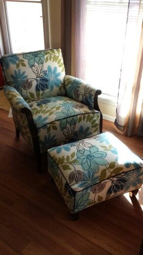 Reupholstered 1930s Club Chair And Ottoman Reupholster