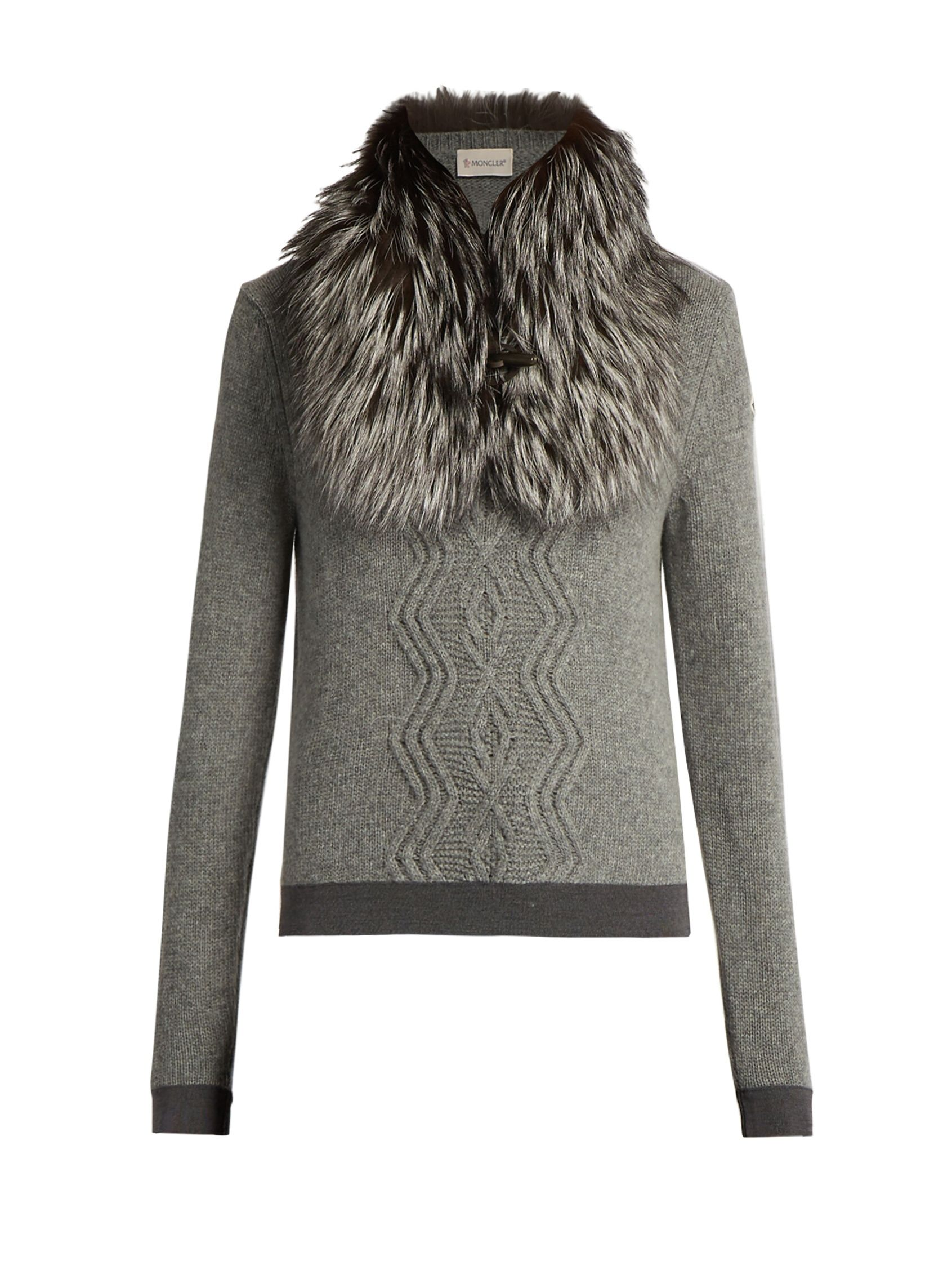 a65f01369102 Detachable fur-collar wool-blend sweater