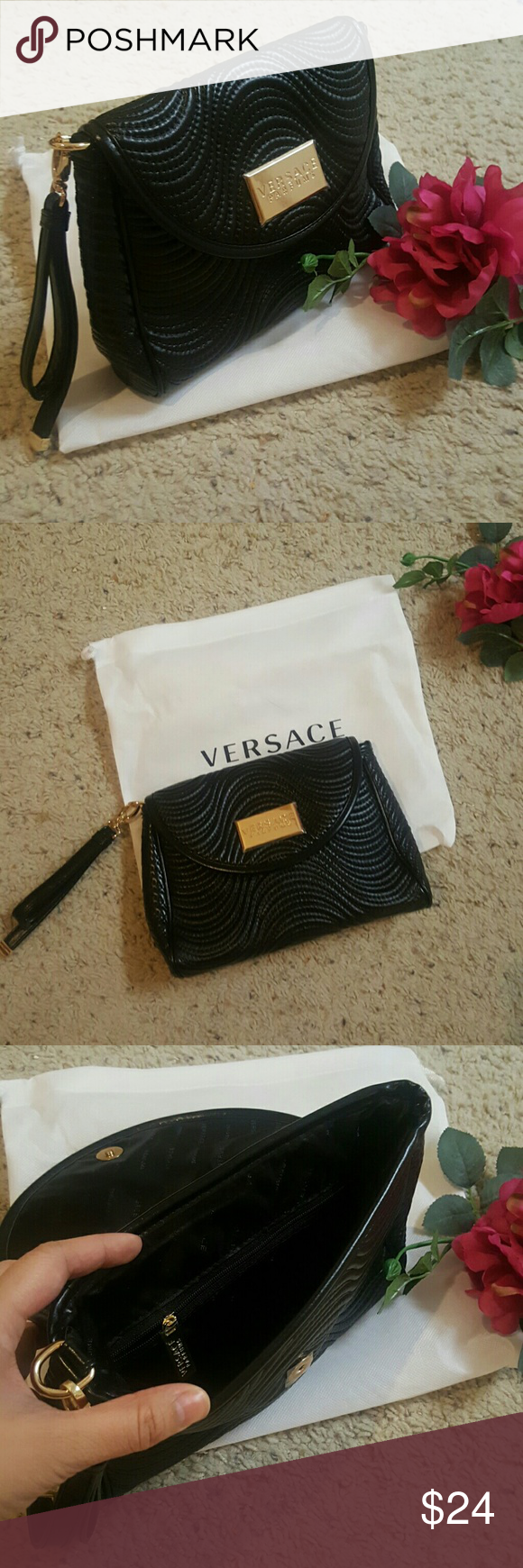 Versace quilted clutch Quilted clutch. Magnetic snap closure. Gold zipper and emblem. Extra zippered compartment inside. Very roomy interior. Brand new and comes with dust bag. Versace Bags Clutches & Wristlets