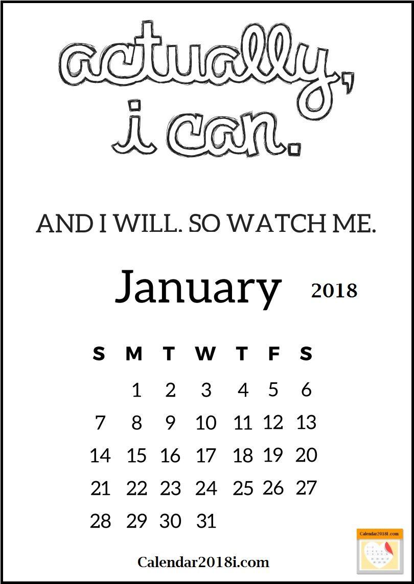 January 2018 Motivational Calendar Maxcalendars Pinterest