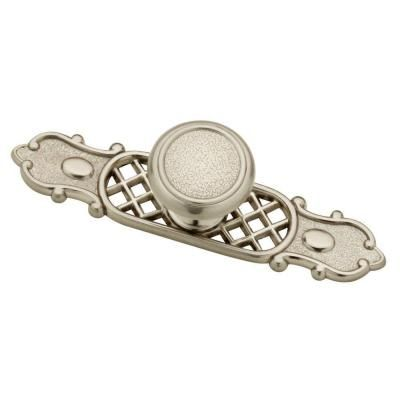 satin nickel hammered cabinet knob with backplate