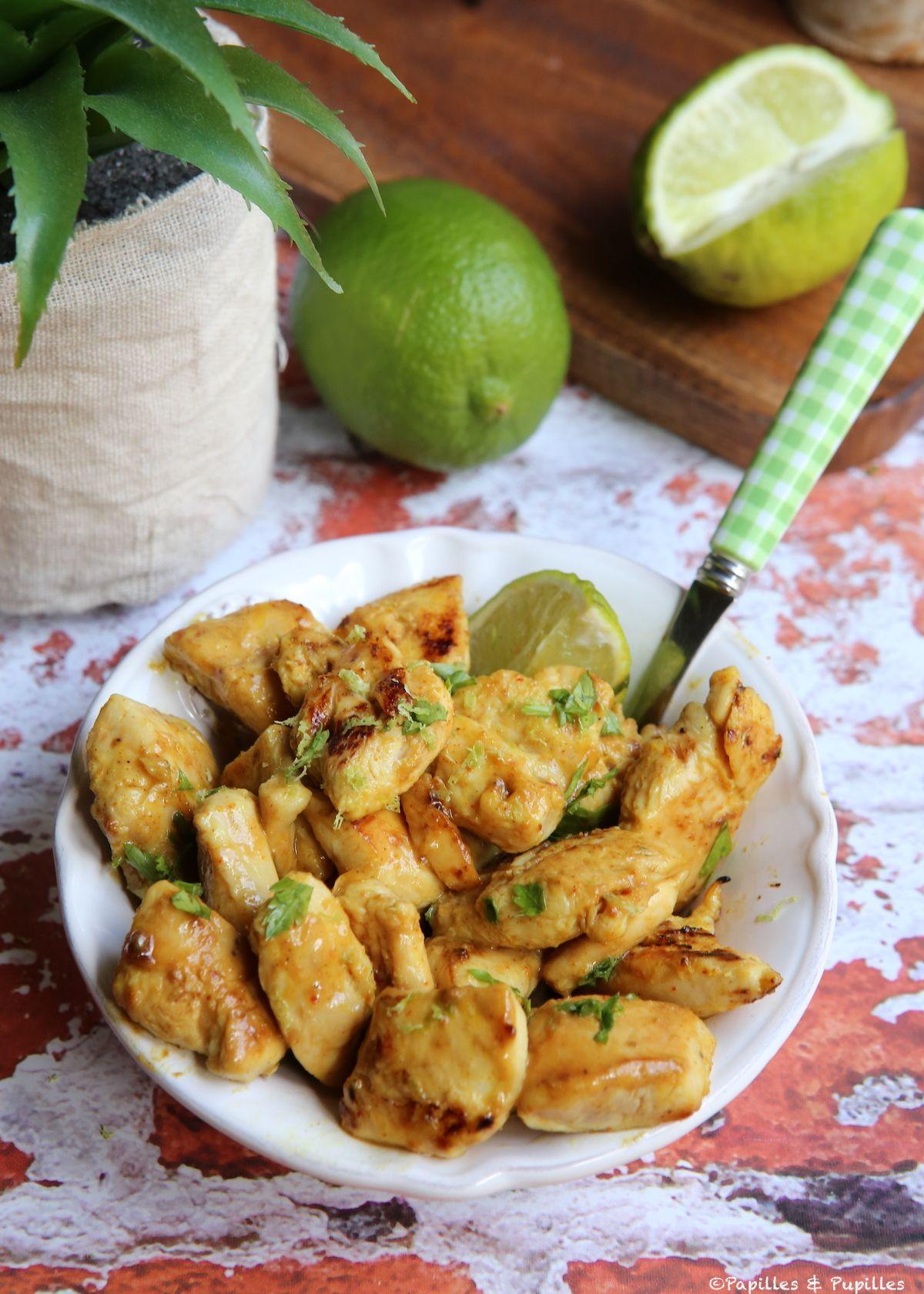 Aiguillettes de poulet à la moutarde, au miel et au curry