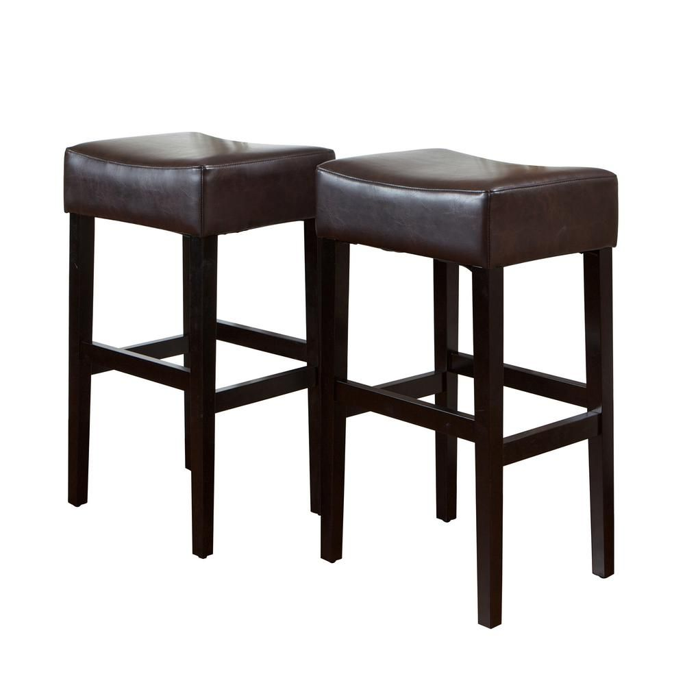 Noble House Lopez 30 In Brown Backless Bar Stool Set Of 2