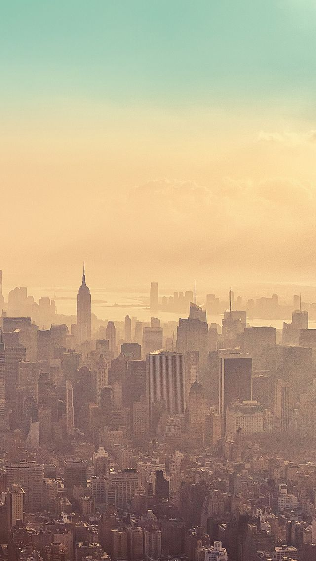 Beautiful new york city sunrise haze iphone 5 wallpaper for New york city beautiful