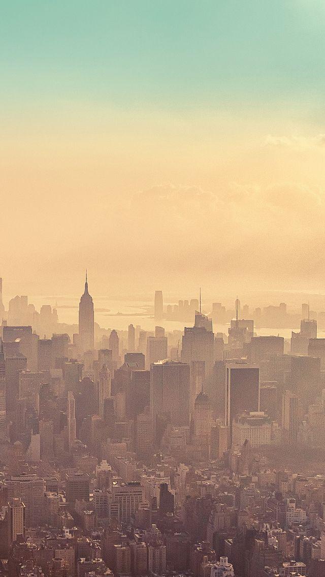 New York City Sunrise Haze Iphone 5 Wallpaper Wallpaper Iphone5 Paisagem Urbana Walpapers Fofos