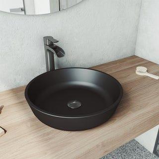 Photo of Modus Rundes Glasgefäß Waschbecken Set in MatteShell mit Wasserhahn in Graphitschwarz, VIGO