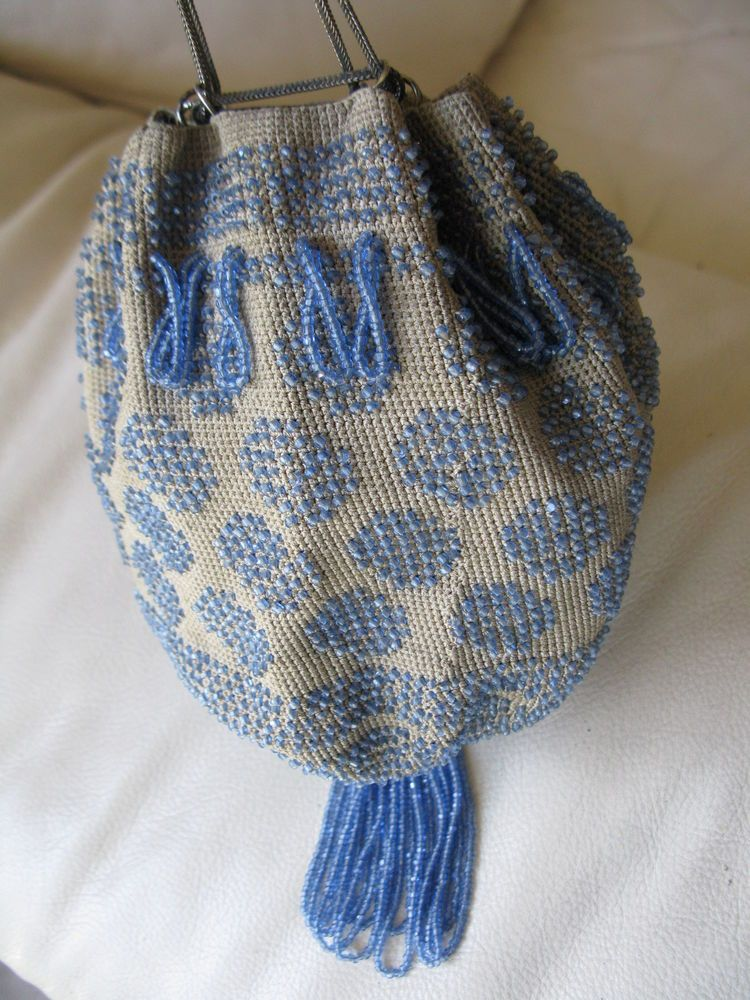 Periods & Styles Antique Art Deco Tan Grey Crochet Peacock Blue Bead Drawstring Flapper Purse Vintage