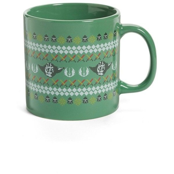 Vandor Star Wars Christmas Mug ($15) ❤ liked on Polyvore featuring home, kitchen & dining, drinkware, green, green mug, christmas mugs, inspirational mugs, motivational mugs and star wars mug