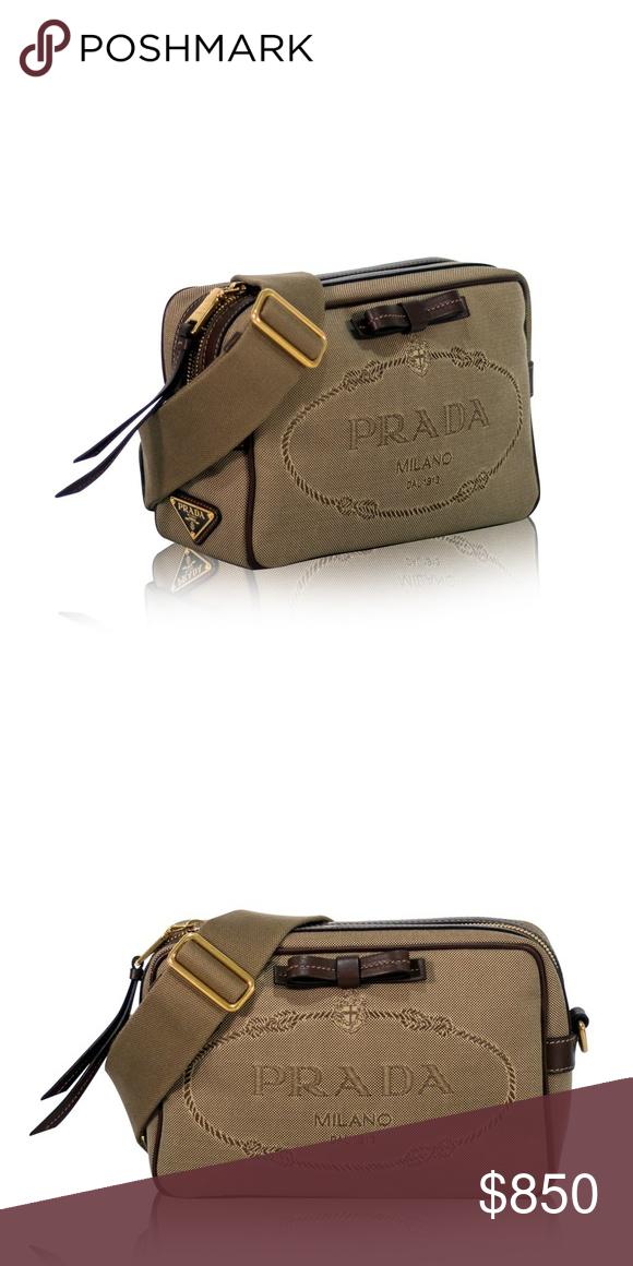 171ef62a9da NEW Prada Logo Jacquard Canvas Cross Body Bag This Prada Jacquard Logo Bag  Corda Bruciato handbag