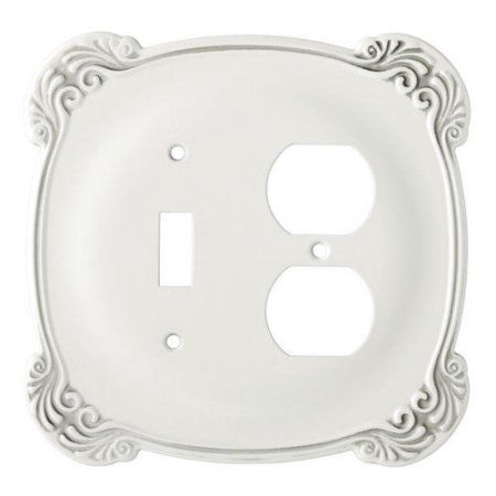 Franklin Brass Arboresque Single Switch and Duplex Wall Plate in White Antique
