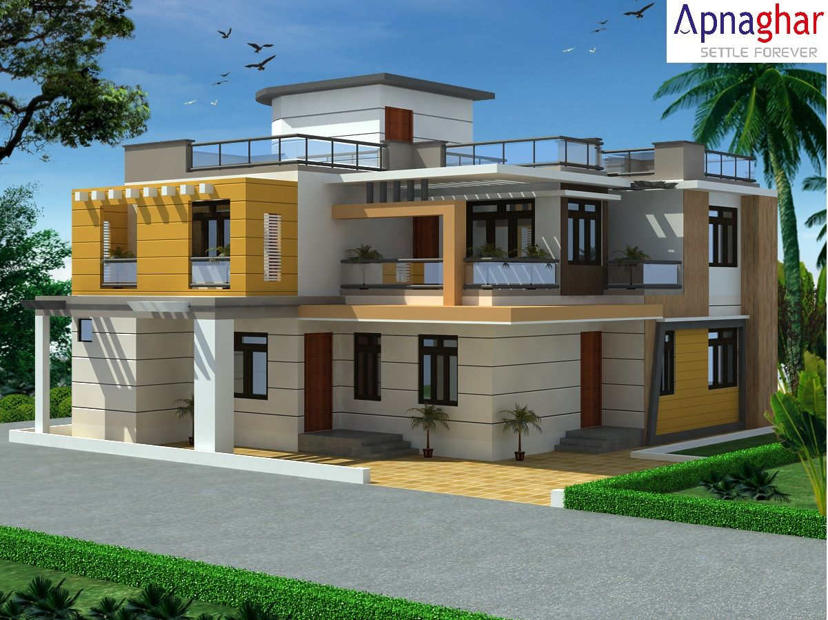 3d exterior view of a building designed by apnaghar to for Design of building house