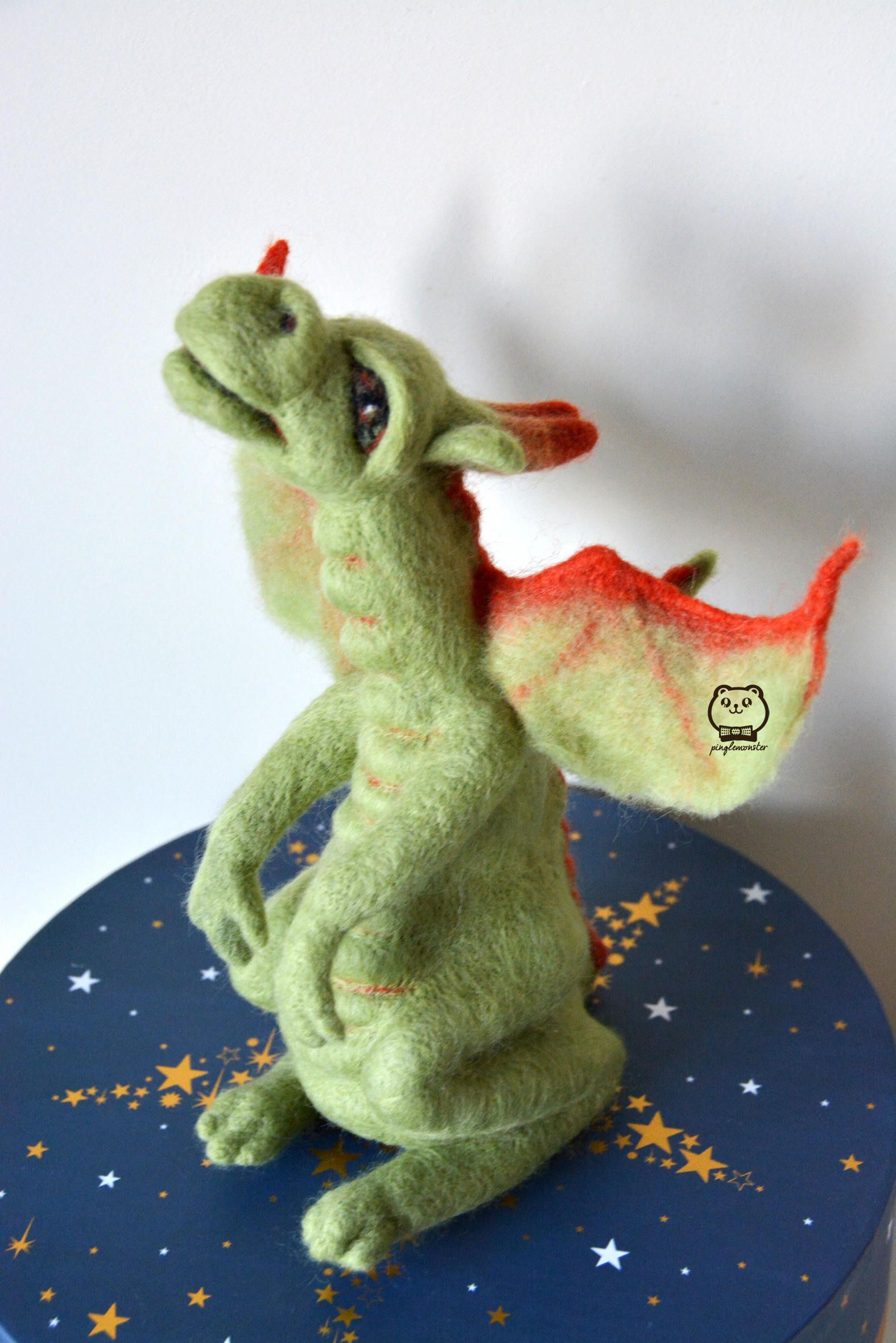 Needle felted green dragon with flame orange wings ... - photo#40