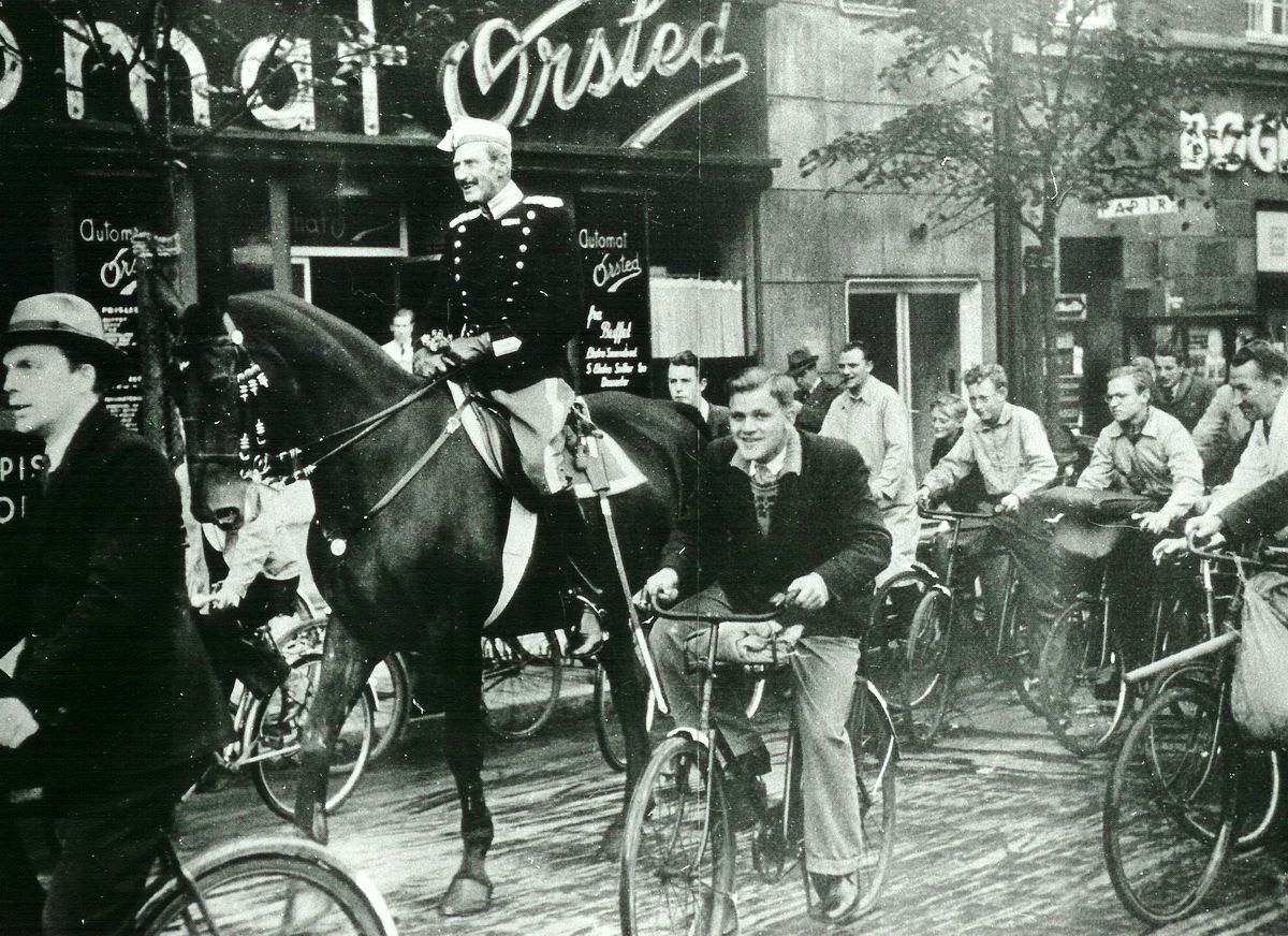 """""""King Christian X on his horse. Gyldenløvsgade in Copenhagen""""  Denmark - Copenhagen, 1940 Christian X (1870 - 1947) during the German Occupation of Denmark he did become a popular symbol of resistance to German occupation, particularly because of the symbolic value of the fact that he rode every day through the streets of Copenhagen unaccompanied by guards."""