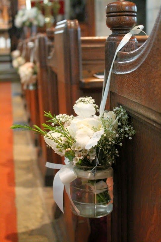 Jam Jar Style Pew End Posies Of Peonies Roses Hydrangeas And Gypsophilia White Roses In 2019