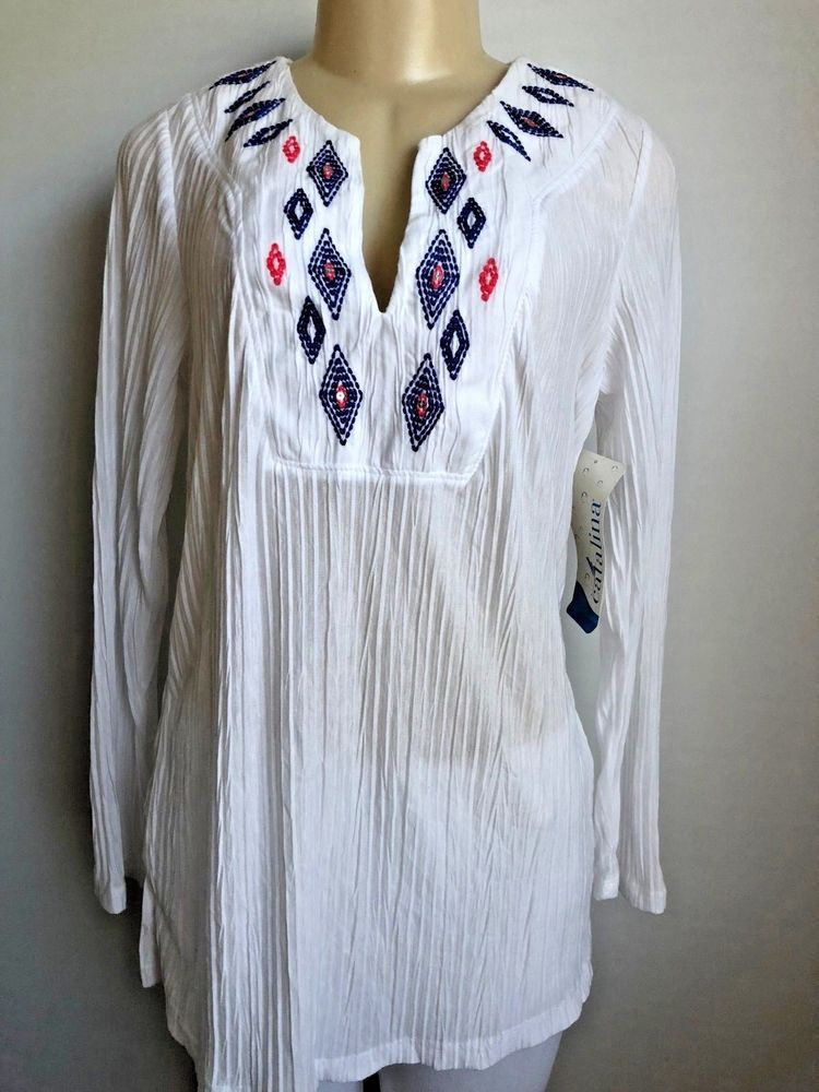 9112a750b7512 Catalina White Embroidered Crinkled Long Sleeve Tunic Cover Up NWOT SZ  M  8-10  fashion  clothing  shoes  accessories  womensclothing  swimwear