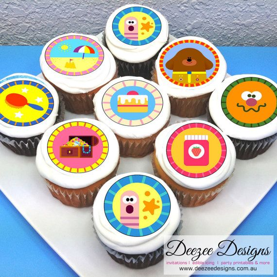 "Icing  Edible Birthday Cake Topper 7.5/"" 8 Cupcake Tops Hey Duggee Iced"