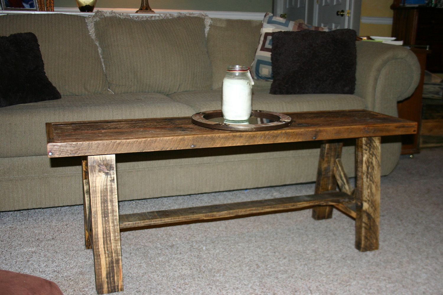 reclaimed wood narrow coffee table rustic country via etsy kitchen great room. Black Bedroom Furniture Sets. Home Design Ideas