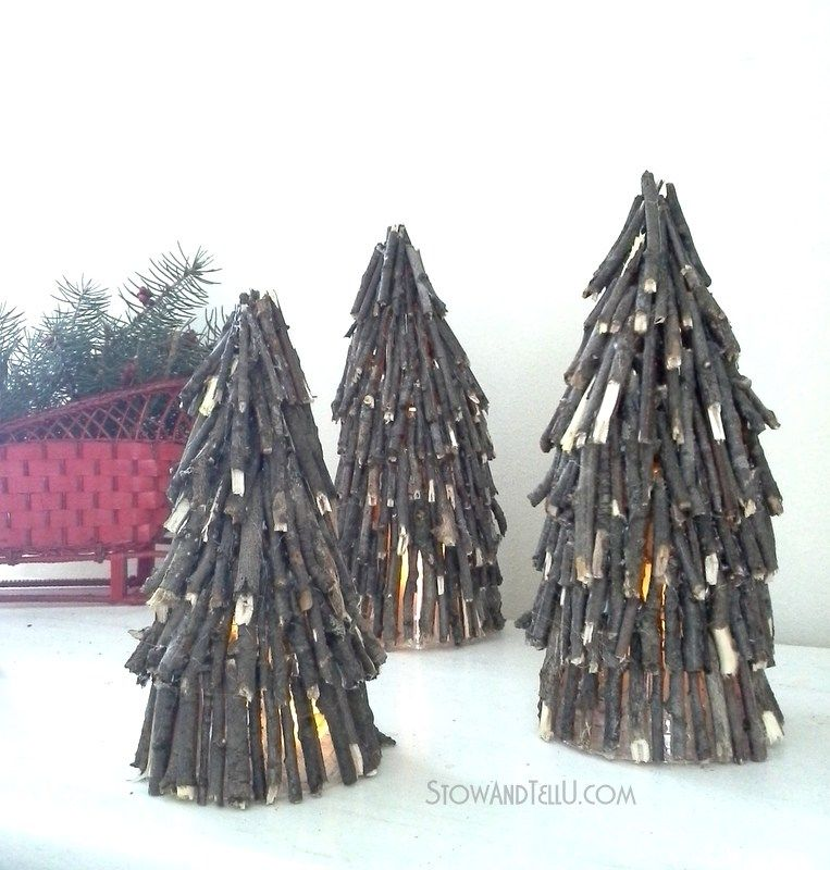 Twig Christmas Tree Luminaries #twigcrafts