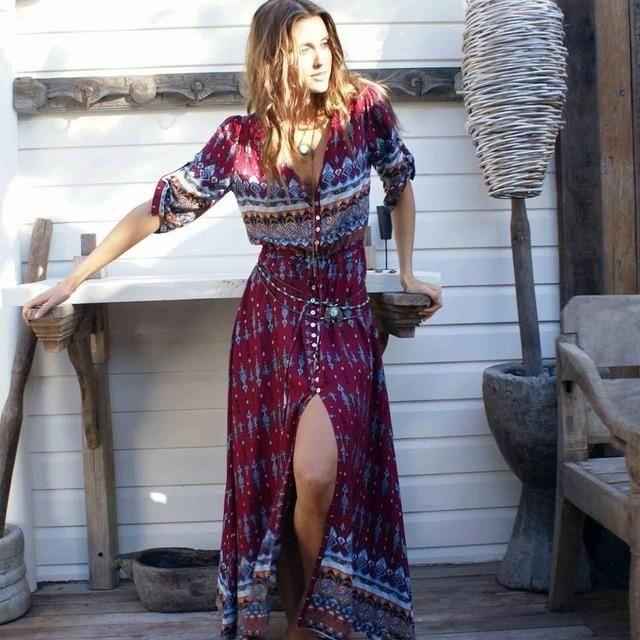f515b77030c Women Long Party Dress Maxi Floor Length Casual Split Retro Summer Dresses  2018 Boho Bohemian Vestidos Plus Size