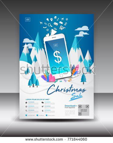 Mobile Apps Flyer template on Winter Landscape Background Business