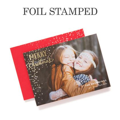 scintillating snowfall foil stamped holiday cards in winterberry