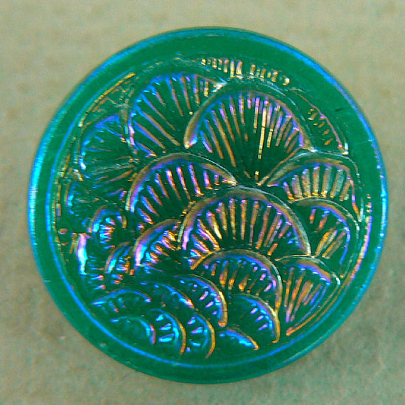 Turquoise Jadite Aurora Iridescent Asian Fans by buttonjewels, $4.50
