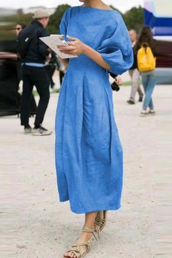 Photo of Solid Casual Half Sleeves Maxi Dress