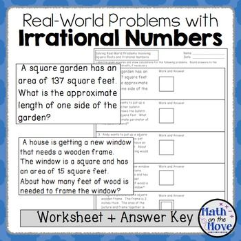 Irrational Numbers and Real World Problems - Worksheet (8 NS