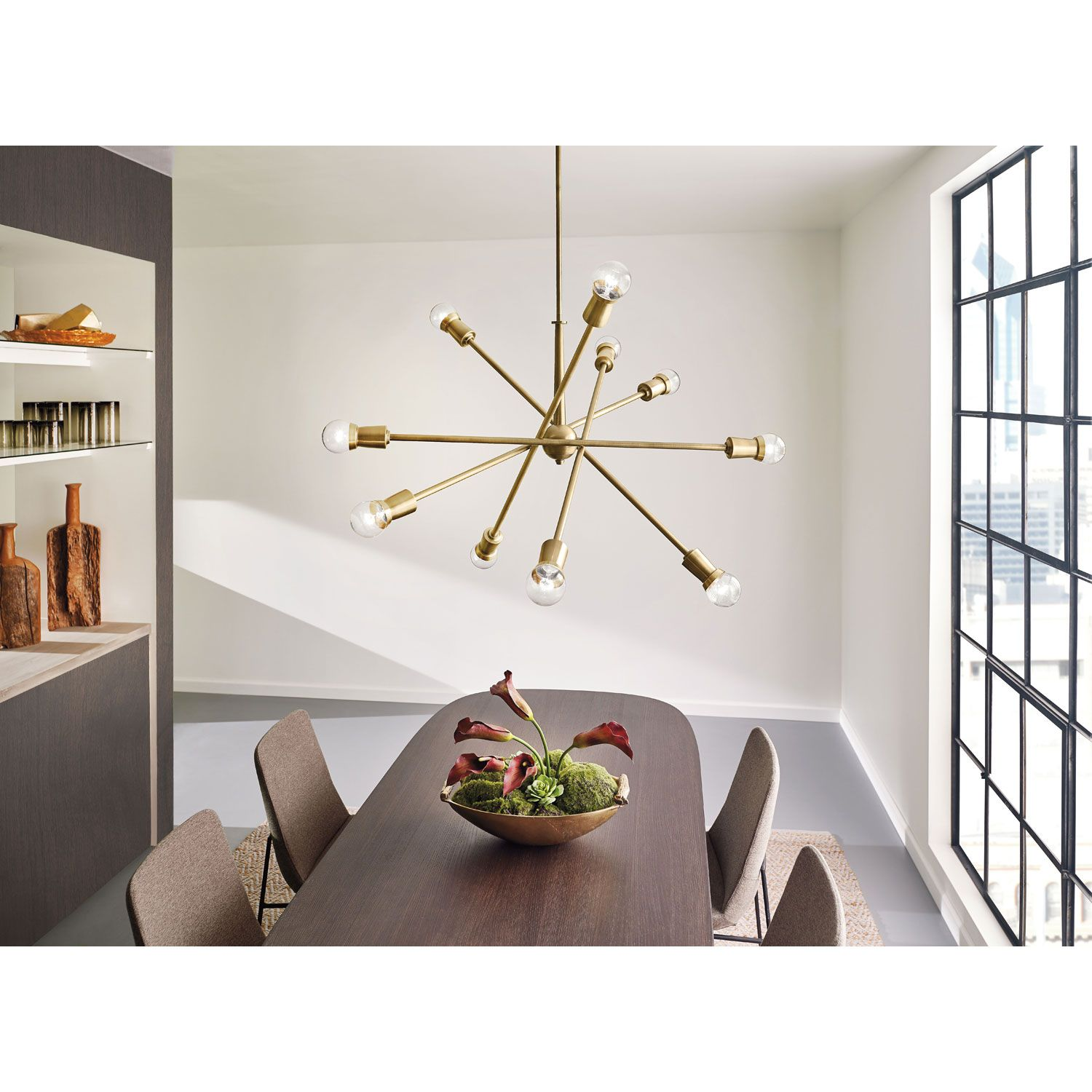 Kichler Dining Room Lighting Endearing Kichler Armstrong Natural Brass Tenlight Starburst Pendant Design Ideas