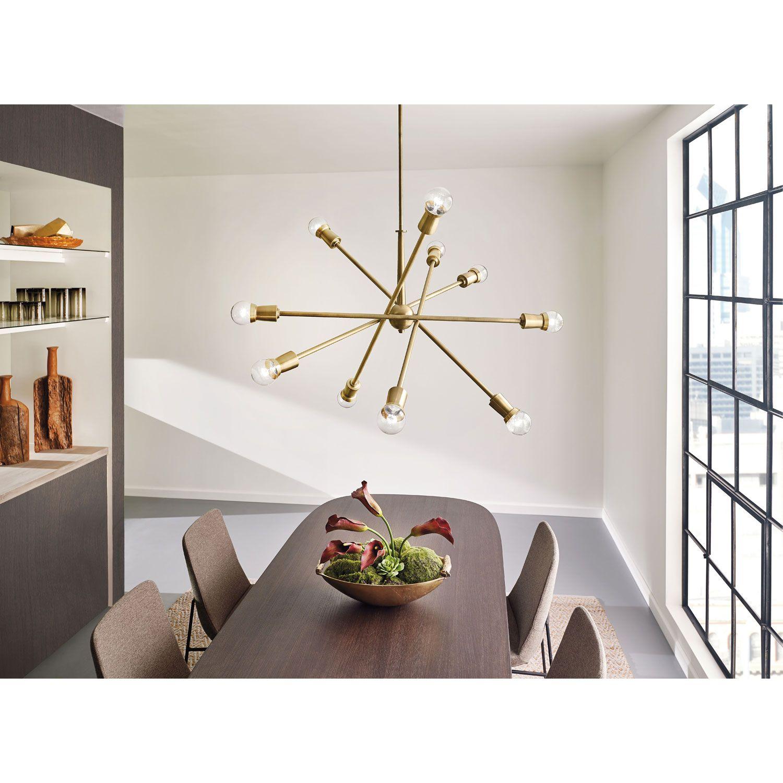Armstrong Natural Brass Ten Light Starburst Pendant Kichler Starburst  Pendant Lighting Cei