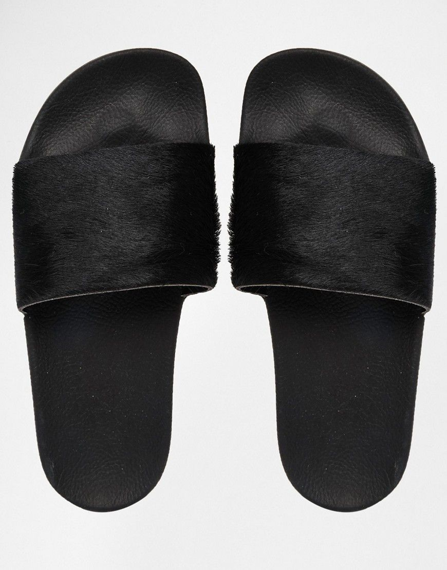 6bccc8f92577 adidas Originals Adilette Pony Hair Slider Flat Sandals