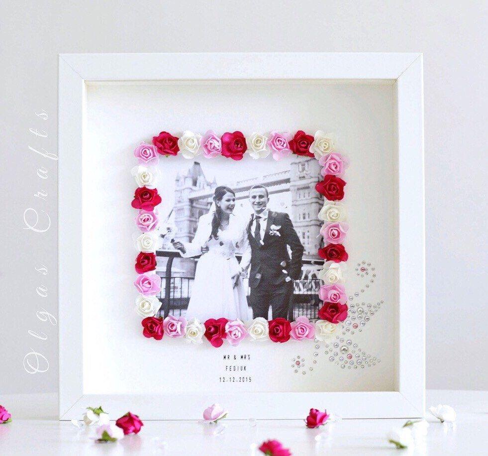 Personalised Wedding / Anniversary Photo Frame Floral Gemstones Gift ...