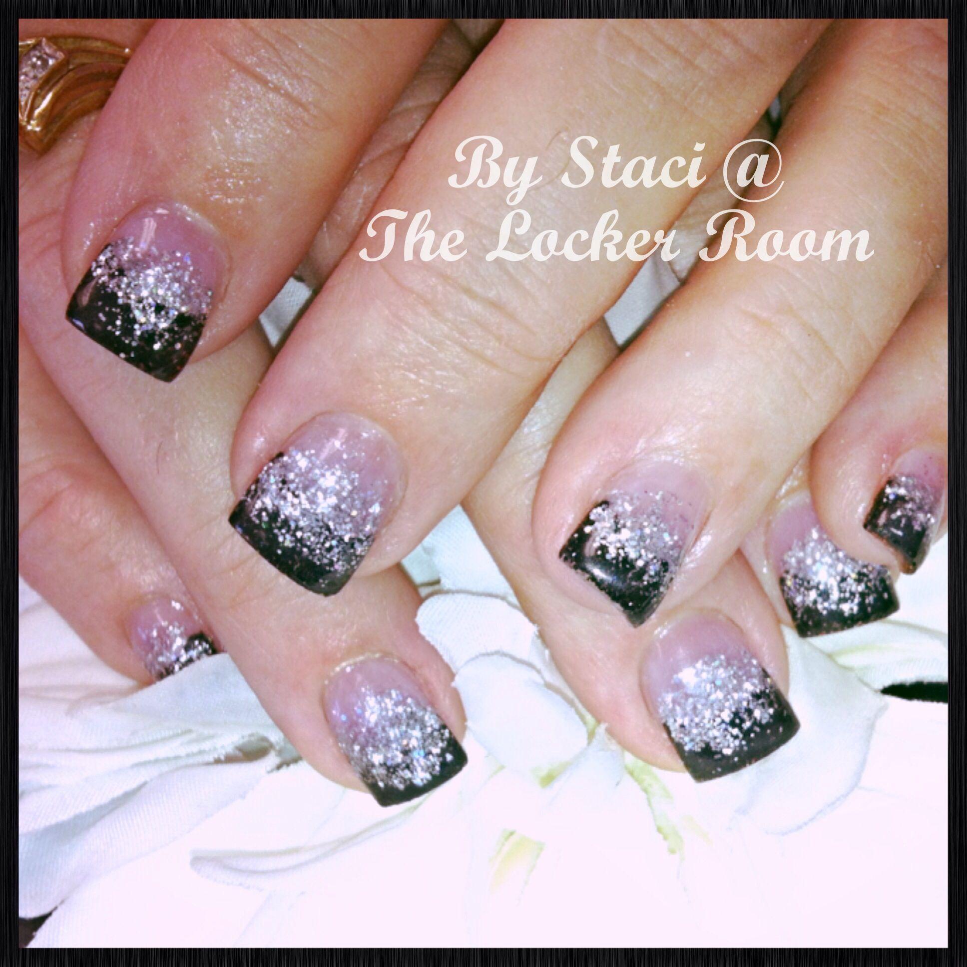 Short black and silver acrylic nails | Staci's Nail ...