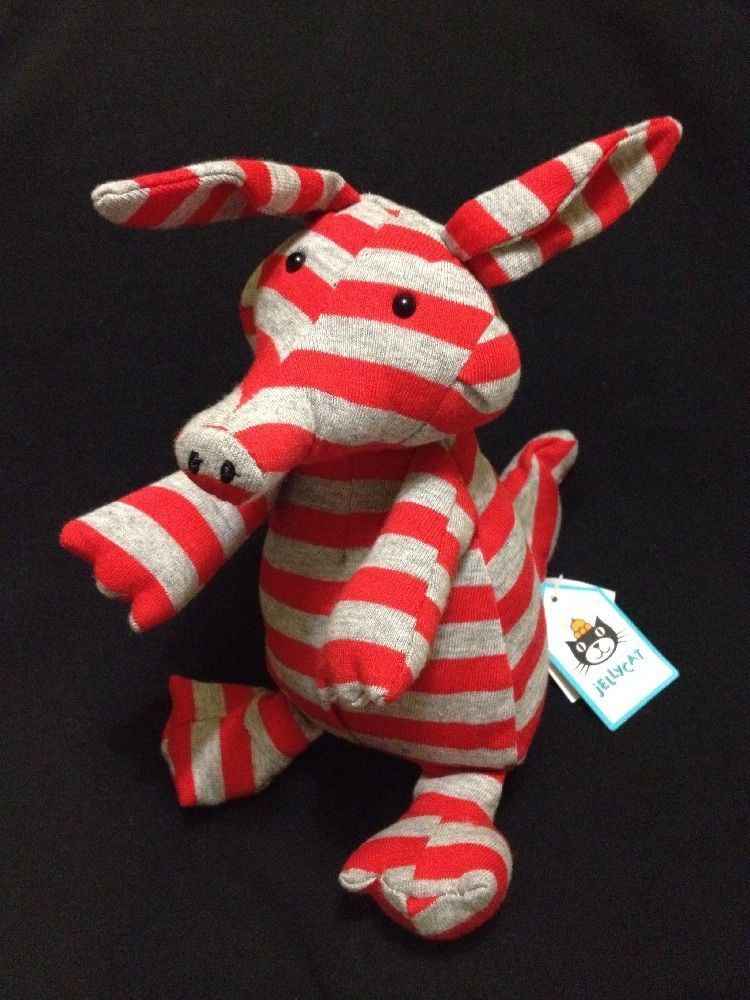 Jellycat Agnes Aardvark Plush Soft Toy Red Grey Stripe New Stuffed Animal Ants