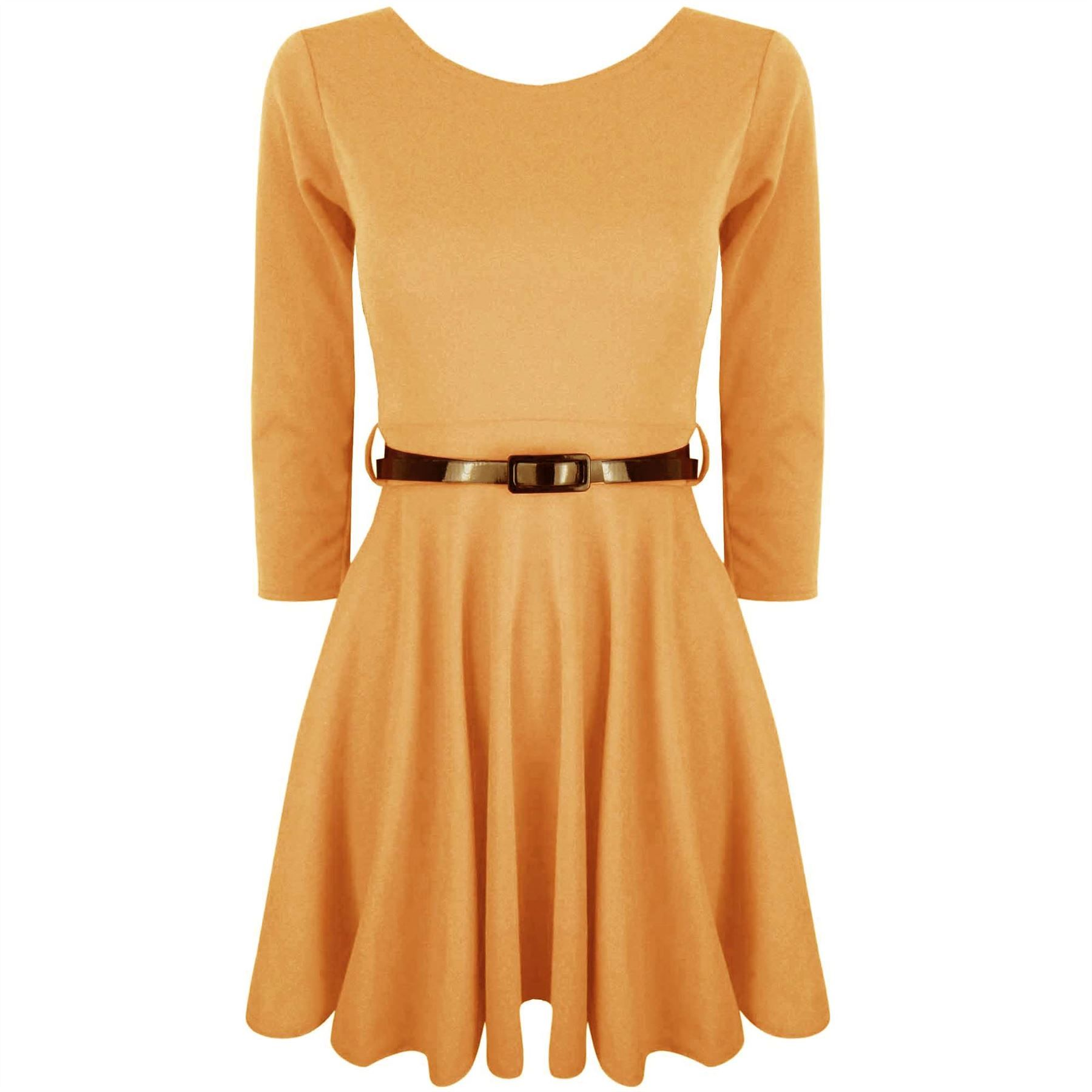 Womens-Belted-3-4-Short-Sleeves-Flared-Franki-Party-Mini-Top-Ladies-Skater-Dress