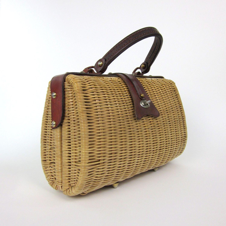 Straw Handbags And Leather Handbag 60s Vintage Dayne By Attysvintage