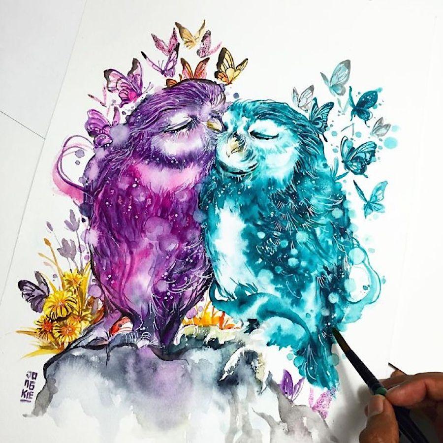 Aquarelle zeigen Tiere von ihrer gefühlvollen Seite – KlonBlog