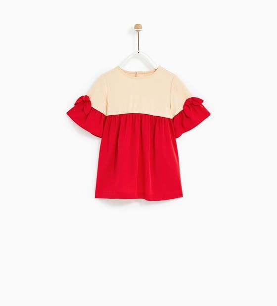 VESTIDO COMBINADO VOLANTE   Girl Clothing   Zara kids, Kids