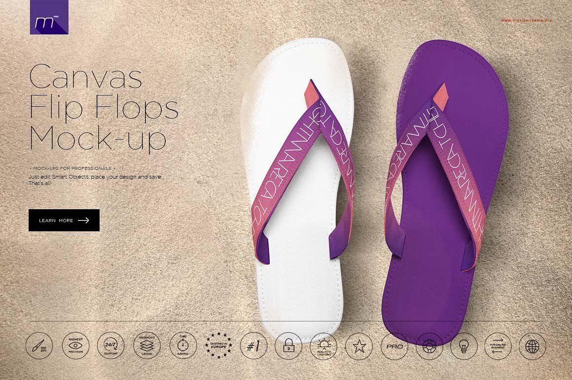 Canvas Flip Flops Mock Up Stylish Flip Flops Flip Flops Flop