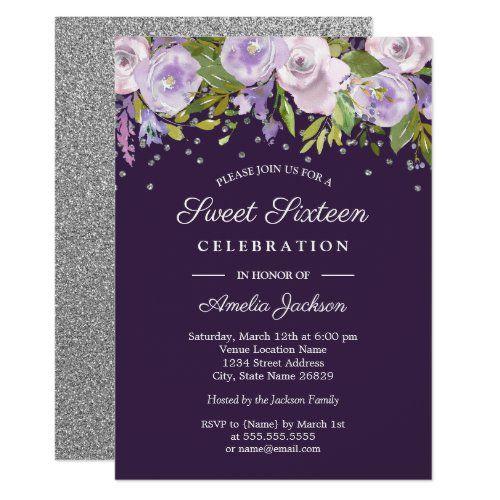 Purple Silver Floral Watercolor Sweet Sixteen Invitation | Zazzle.com