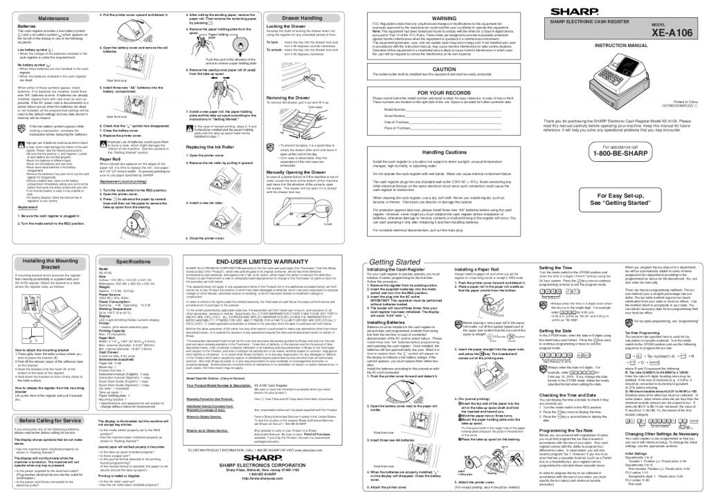 PdfPreviewSharpElectronicCashRegisterInstructionManualFor