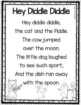 Hey Diddle Diddle Printable Nursery Rhyme Poem For Kids