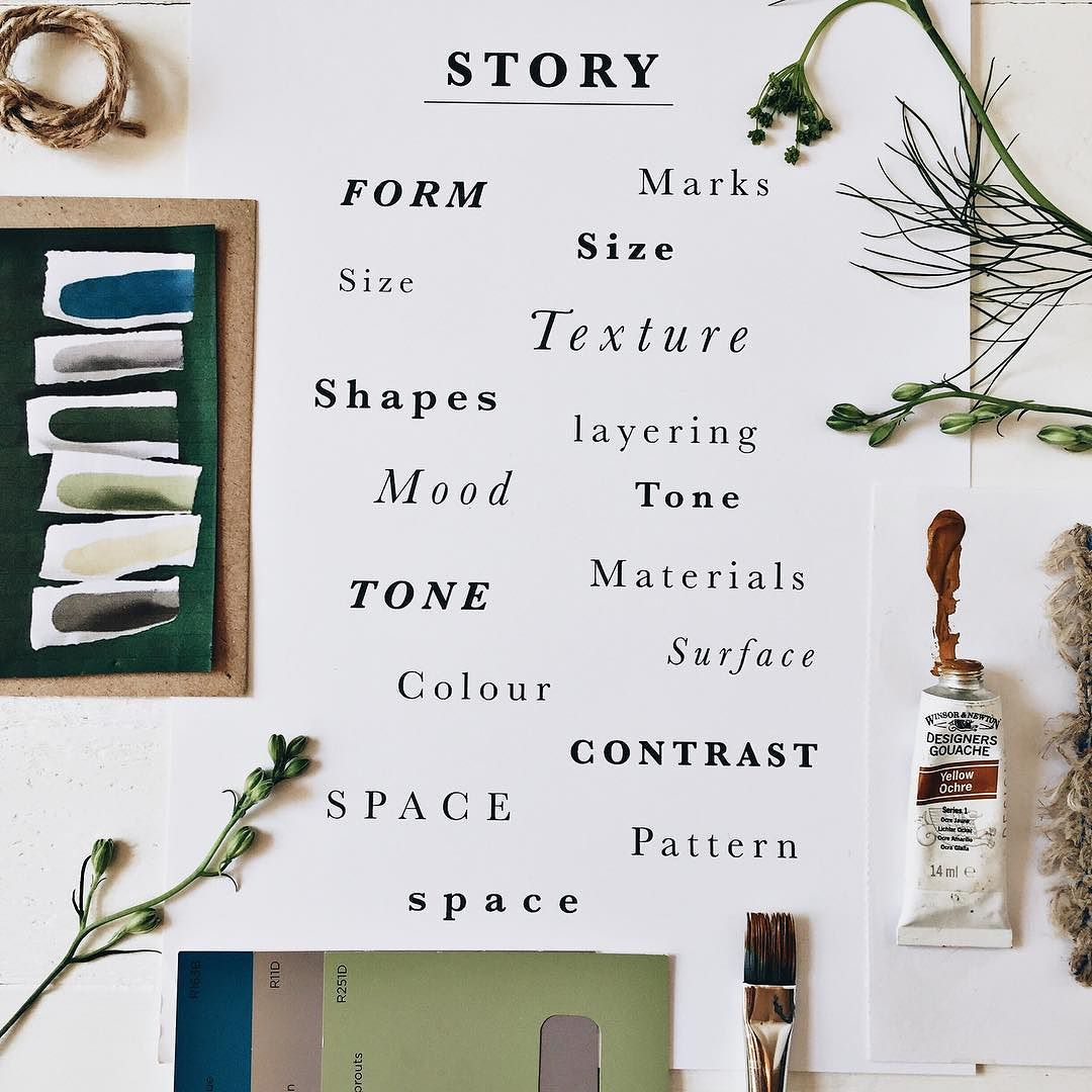 A new week - a mood board to remind me of all the things I need to think about when making a mood board ! This really helps to get focused on new projects #mymondaymoodboard #decor8monday by rosehippaper