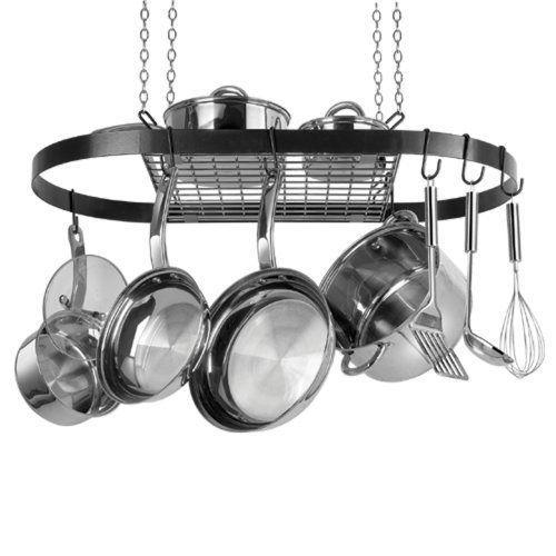 hanging pot rack black enamel oval kitchen cookware pots pans organize