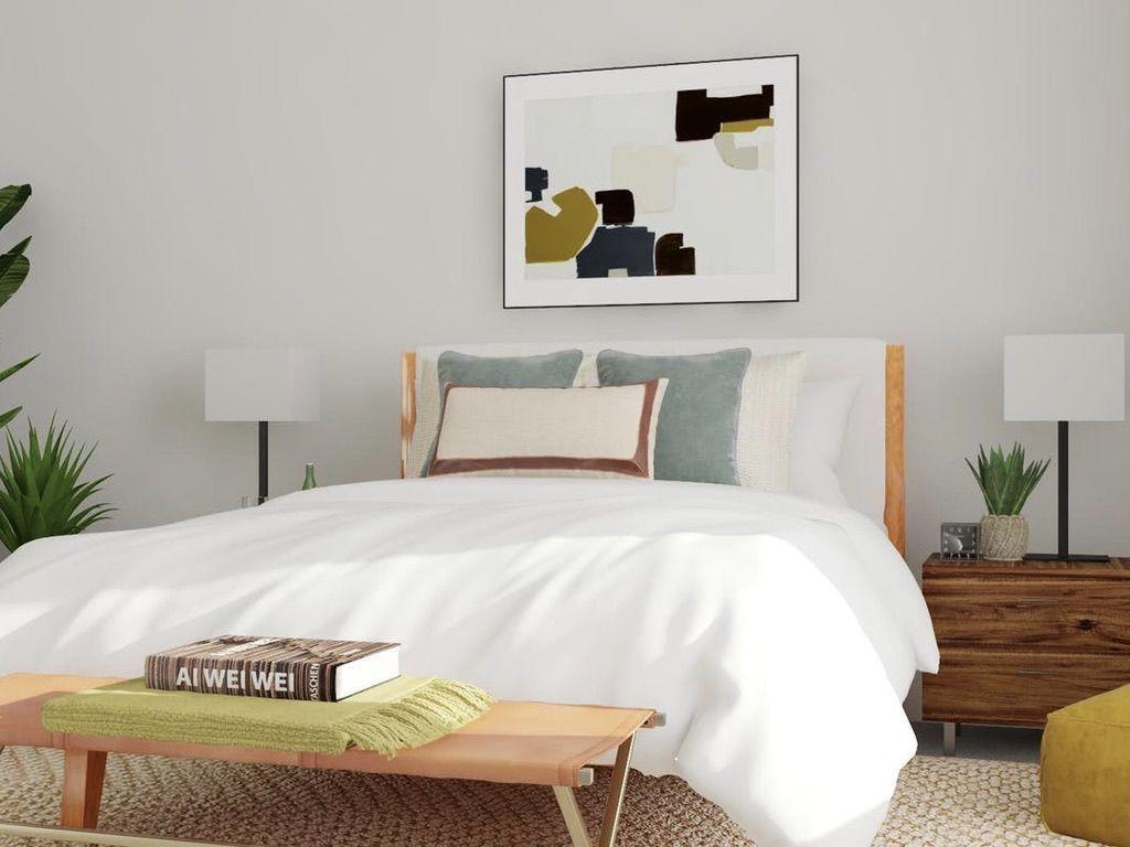 Neutral, minimal and modern bedroom! | Mid century modern ... on Neutral Minimalist Bedroom Ideas  id=94305