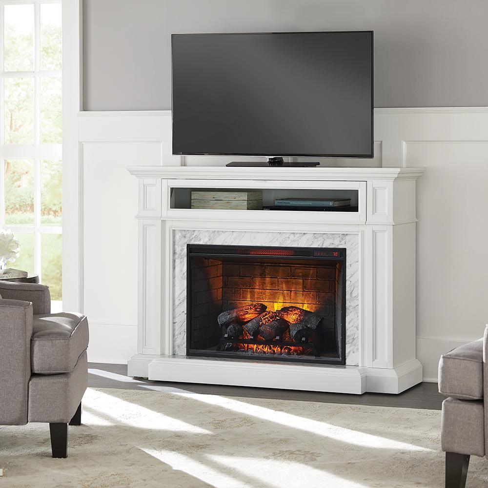 Home Decorators Collection Alana 52 In W Infrared Media Electric Fireplace In White 1457fm 33 201 The Home Depot Freestanding Fireplace Electric Fireplace Media Electric Fireplace