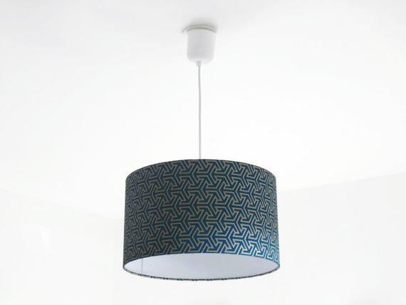 suspension abat jour g om trique bleu canard et or lustre. Black Bedroom Furniture Sets. Home Design Ideas