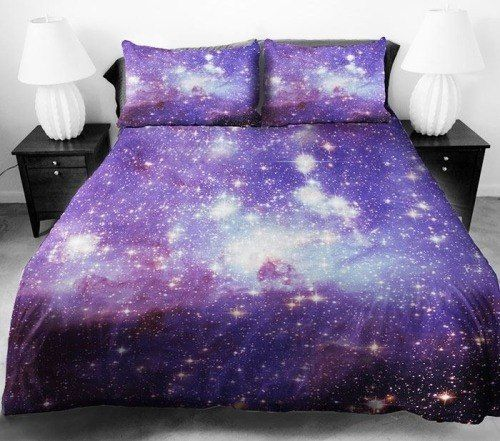 Delightful Queen Size Bed Sheet With Galaxy Print And Artwork